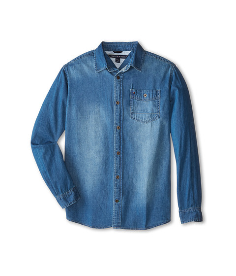 Tommy Hilfiger Kids - Long Sleeve Woven Max Denim Shirt (Big Kids) (Medium Blue Wash) Boy