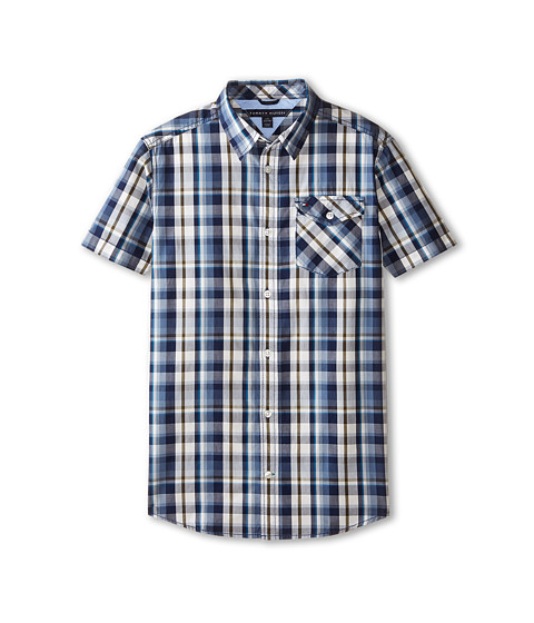 Tommy Hilfiger Kids - Short Sleeve Woven Forrester (Big Kids) (Flag Blue) Boy's Short Sleeve Button Up