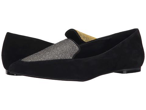 Dune London - Austine (Black Suede/Lurex) Women's Slip on Shoes