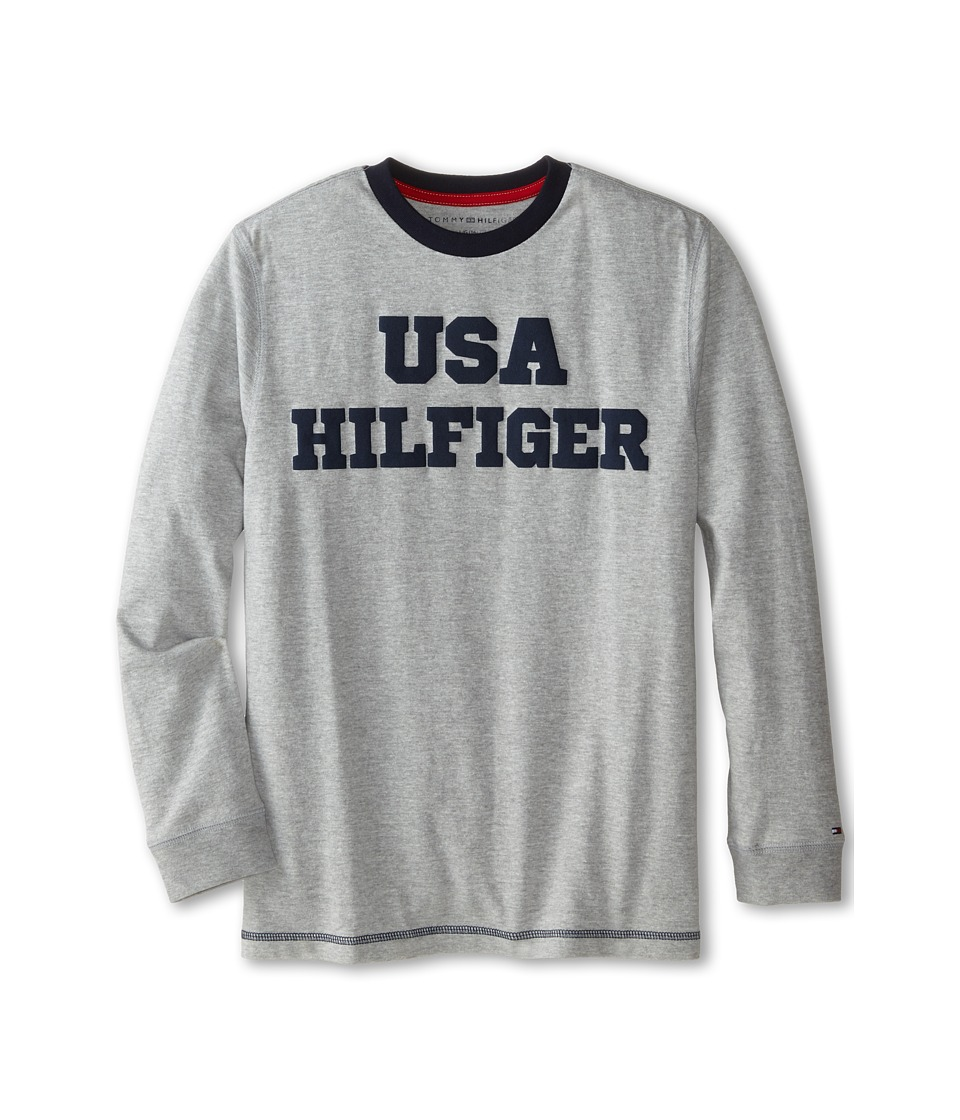 Tommy Hilfiger Kids - Long Sleeve USA Hilfiger Tee (Big Kids) (Grey Heather) Boy's T Shirt