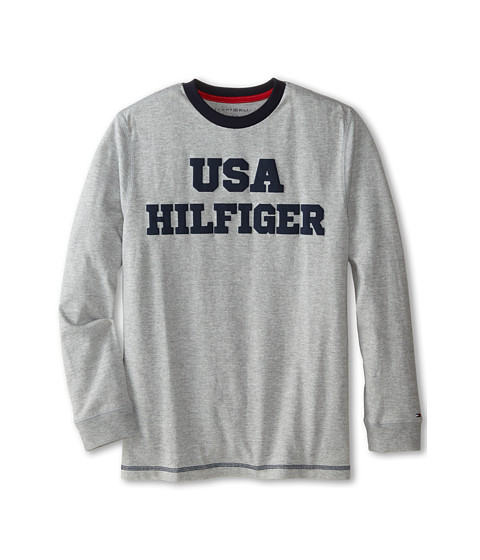 Tommy Hilfiger Kids - Long Sleeve USA Hilfiger Tee (Big Kids) (Grey Heather) Boy