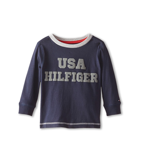 Tommy Hilfiger Kids - Long Sleeve USA Hilfiger Tee (Big Kids) (Swim Navy) Boy