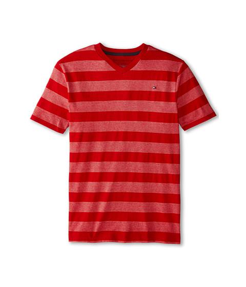 Tommy Hilfiger Kids - Jersey Stripe Short Sleeve V-Neck Tee (Big Kids) (Bulls Eye) Boy