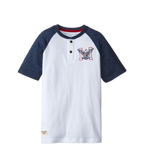 Tommy Hilfiger Kids - Marled Short Sleeve Henley Tee (Big Kids) (White) Boy's T Shirt