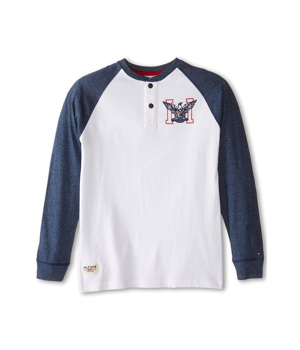 Tommy Hilfiger Kids - Marled Long Sleeve Henley Tee (Big Kids) (White) Boy
