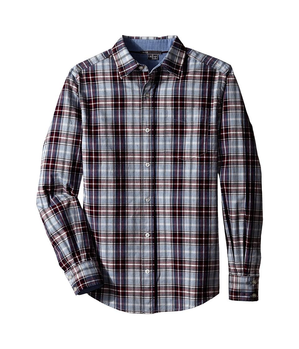 Vince Kids - Plaid Button Up (Big Kids) (Imperial Blue/Black/Mist/Stonewash/Bordeaux) Boy's Long Sleeve Button Up