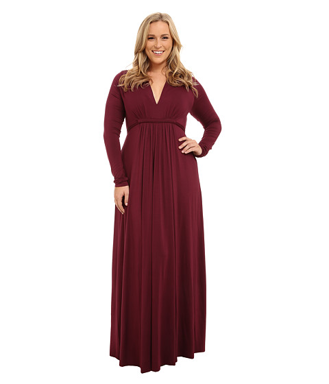 Rachel Pally Plus - Plus Size Long Sleeve Full Length Caftan (Cabernet) Women's Dress