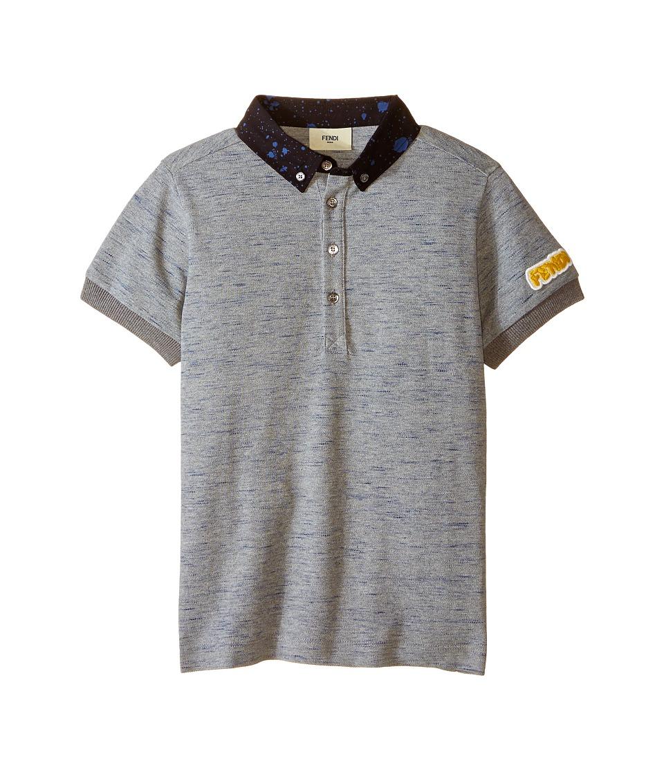Fendi Kids - Short Sleeve Polo Shirt w/ Dots On Collar (Little Kids) (Grey) Boy