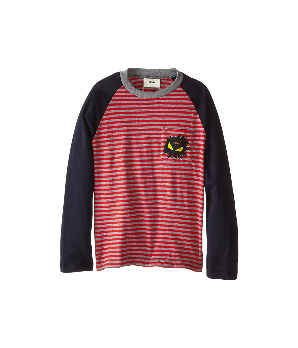 Fendi Kids - Long Sleeve Shirt with Stripe Detail (Little Kids) (Red/Blue) Boy's Long Sleeve Pullover