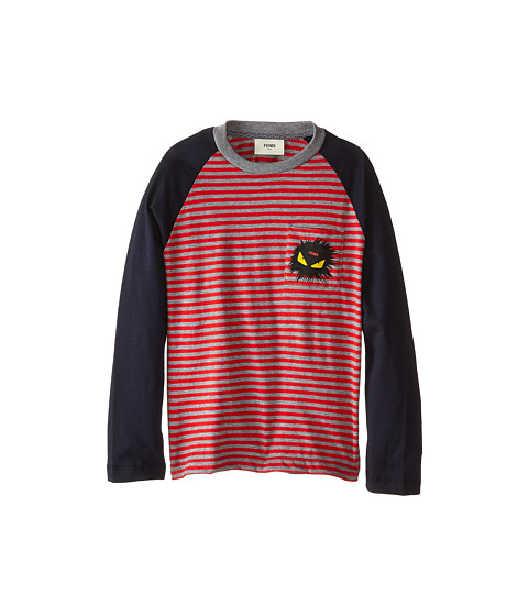 Fendi Kids - Long Sleeve Shirt with Stripe Detail (Little Kids) (Red/Blue) Boy