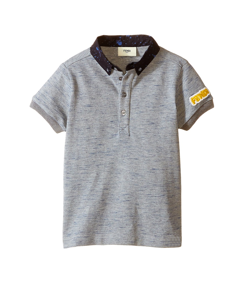 Fendi Kids - Short Sleeve Polo Shirt w/ Dots On Collar (Toddler) (Grey) Boy