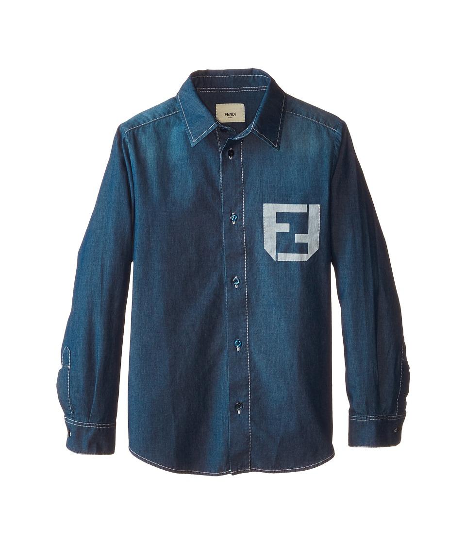 Fendi Kids - Long Sleeve Button Down Shirt Logo (Little Kids) (Multi) Boy