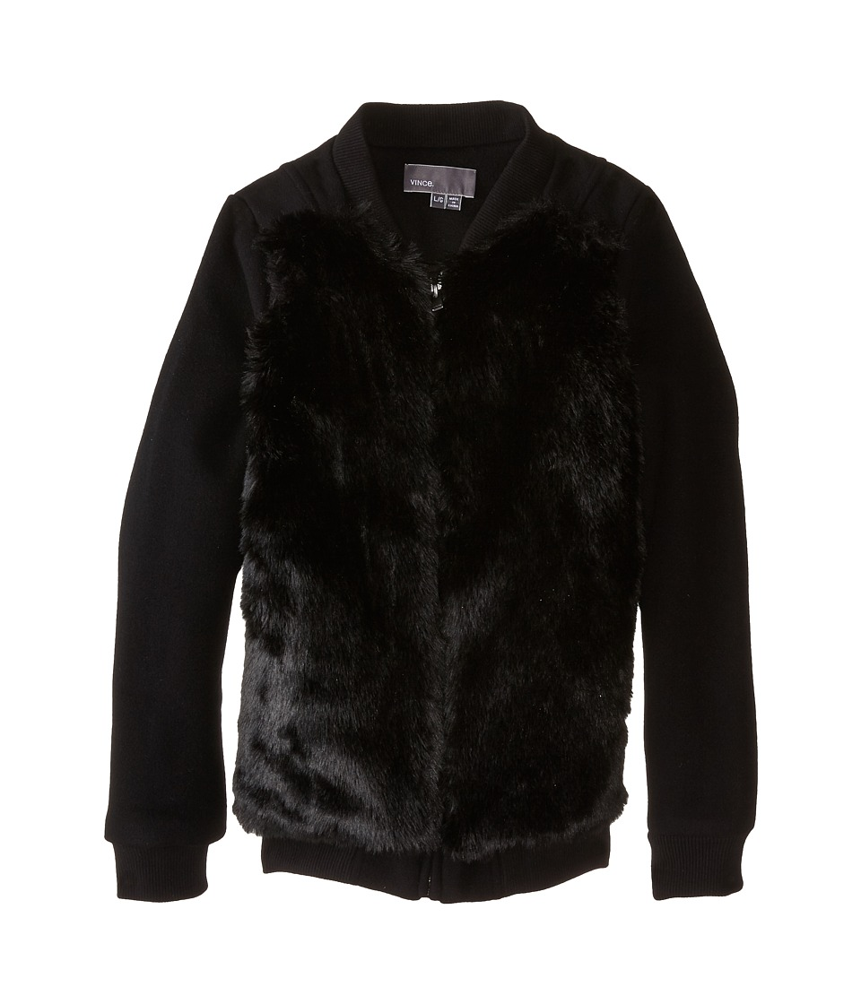 Vince Kids - Fur Bomber Jacket (Big Kids) (Black) Girl