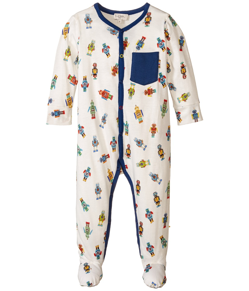Paul Smith Junior - All Over Robot Print Footy (Infant/Toddler) (Antique White) Boy's Jumpsuit & Rompers One Piece