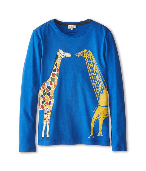 Paul Smith Junior - Long Sleeve T-Shirt w/ Giraffe Print (Toddler/Little Kids/Big Kids) (Ultra Blue) Boy