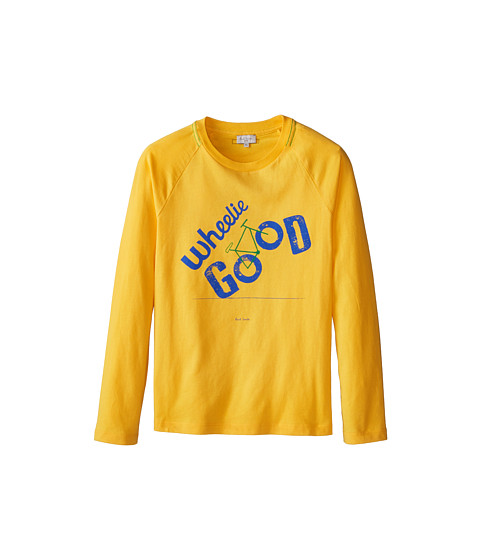 Paul Smith Junior - Long Sleeve T-Shirt w/ Wheelie Good Inscription (Toddler/Little Kid/Big Kid) (Banana) Boy