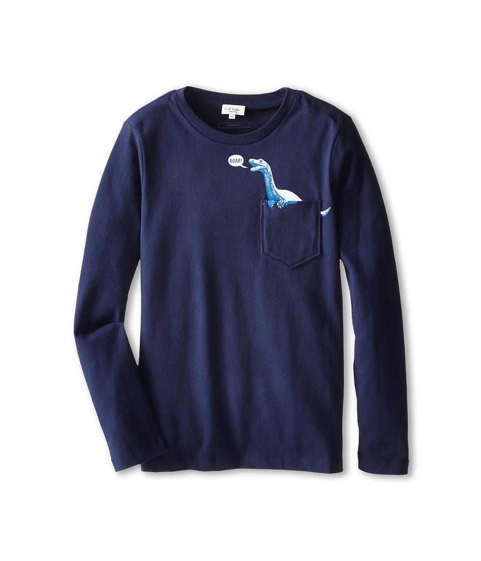 Image of Paul Smith Junior - Long Sleeve T-Shirt w/ Dinosaur Print Pocket (Toddler/Little Kids/Big Kids) (Dark Navy) Boy's T Shirt