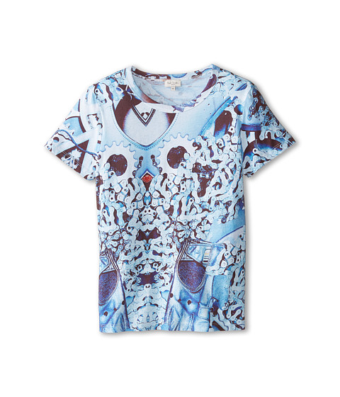 Paul Smith Junior - Short Sleeve Bike Chaine All Over Print T-Shirt (Toddler/Little Kids/Big Kids) (Petrol Blue) Boy