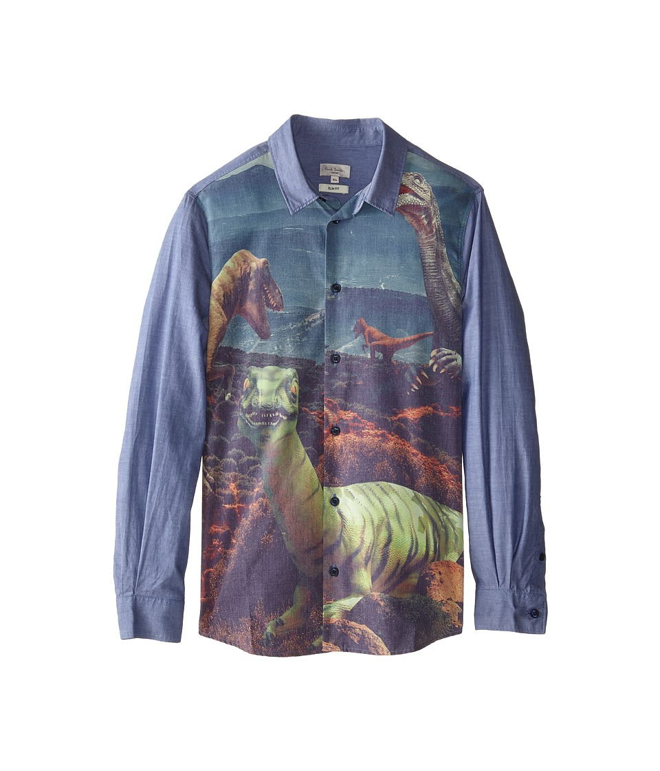 Image of Paul Smith Junior - Dinosaur Front Print/Chambray Shirt (Toddler/Little Kids/Big Kids) (Petrol Blue) Boy's Long Sleeve Button Up