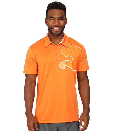 PUMA - Graphic Poly Polo (Golden Poppy/White) Men's Short Sleeve Pullover