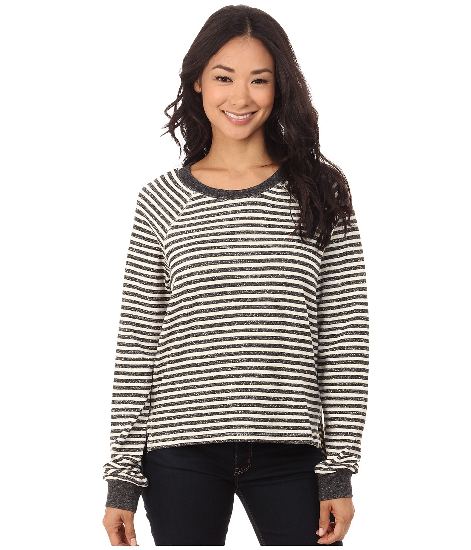 Volcom - Lived in Stripe Crew (Black) Women's Long Sleeve Pullover