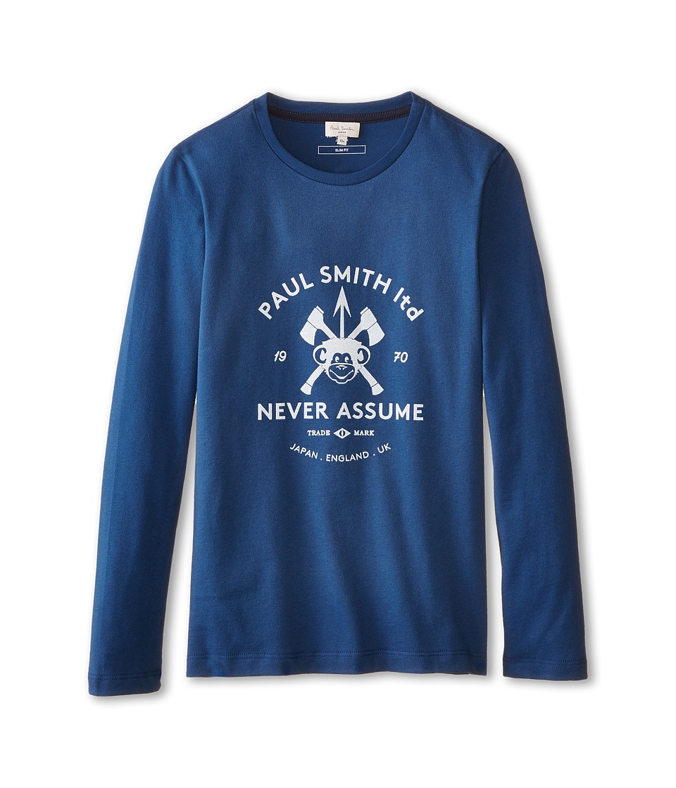 Image of Paul Smith Junior - Long Sleeve Navy Paul Smith Logo T-Shirt (Big Kids) (Petrol Blue) Boy's T Shirt