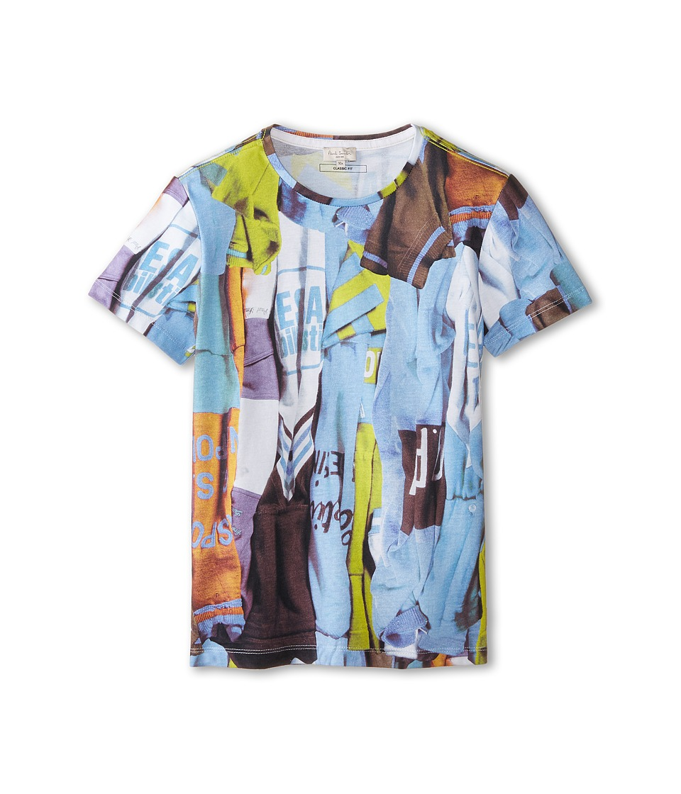 Paul Smith Junior - Short Sleeve All Over Multicolor Folded T-Shirt Print T-Shirt (Big Kids) (Petrol Blue) Boy's T Shirt