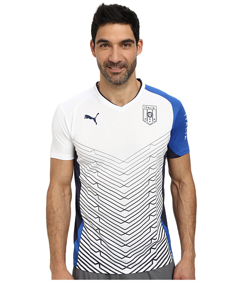 PUMA - FIGC Italia Short Sleeve Training Tee (White/Team Power Blue) Men's T Shirt