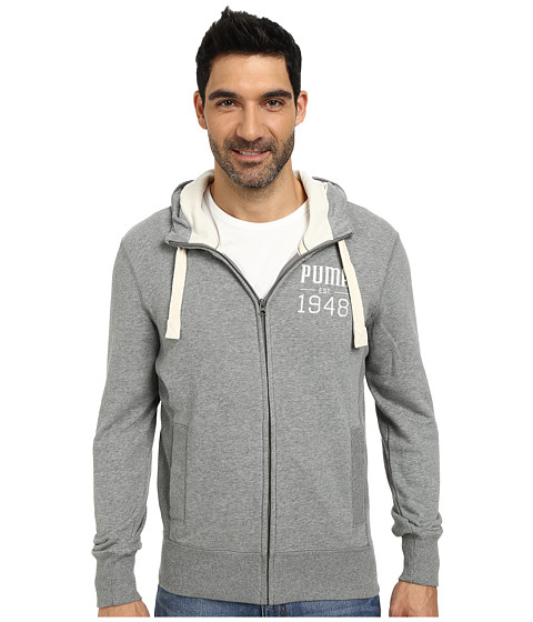 PUMA - Full Zip Hoodie (Medium Gray Heather) Men
