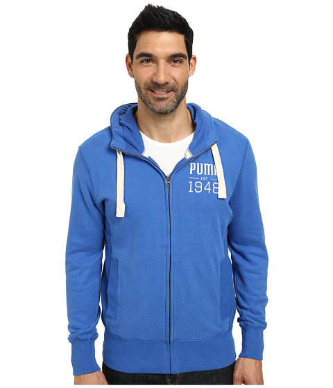 PUMA - Full Zip Hoodie (Team Power Blue Heather) Men