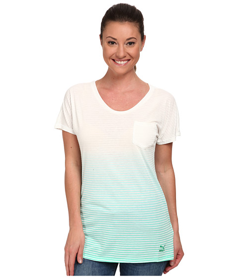 PUMA - Striped Tee (Electric Green/Dip) Women