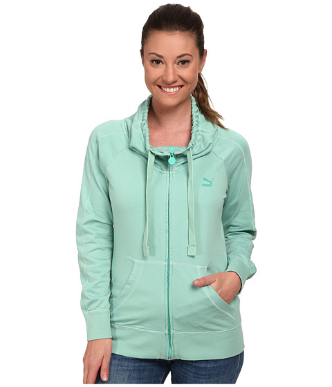 PUMA - Washed Zip Through Top (Electric Green/Washed) Women's Clothing