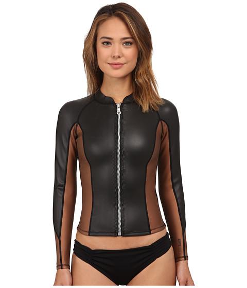 Amuse Society - Blocked Long Sleeve Zip Front (Black) Women