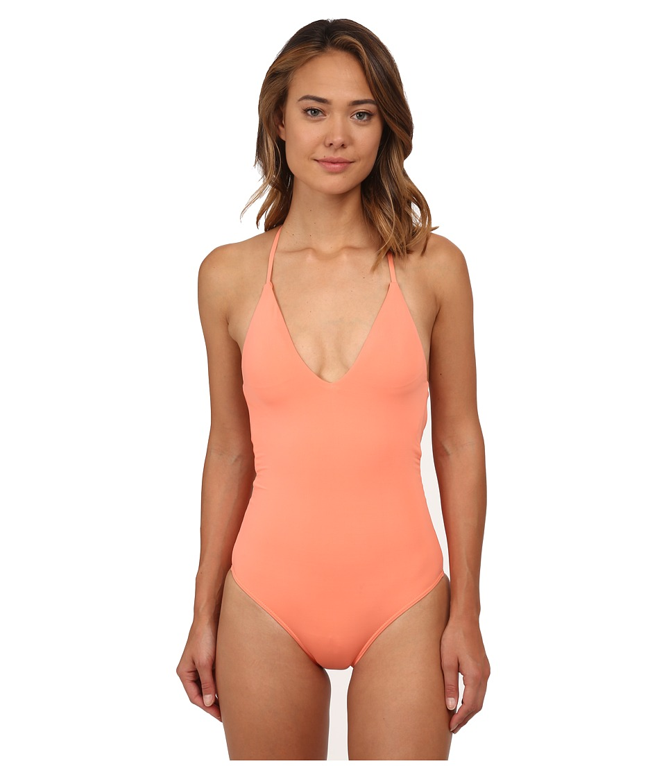 Roxy - Deep V One-Piece (Sunkissed Coral) Women's Swimsuits One Piece