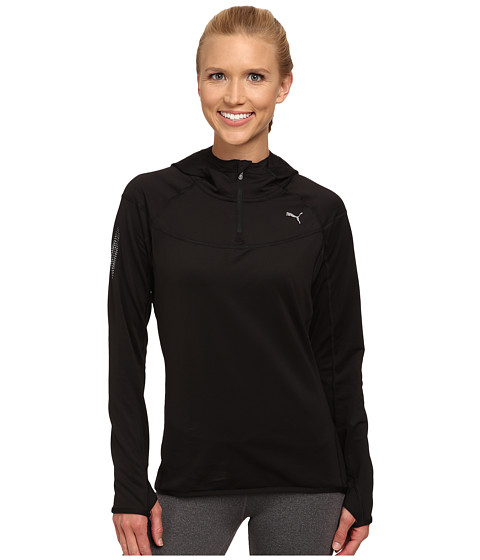 PUMA - Long Sleeve 1/2 Zip Running Hoodie (Black) Women