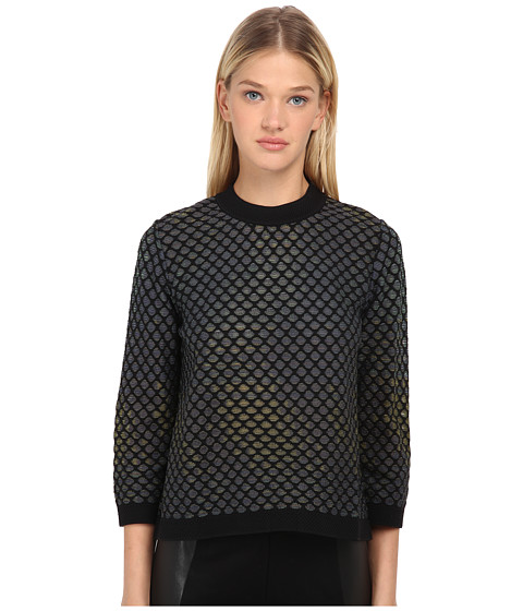 M Missoni - Large Pique Knit Long Sleeve Top (Violet) Women