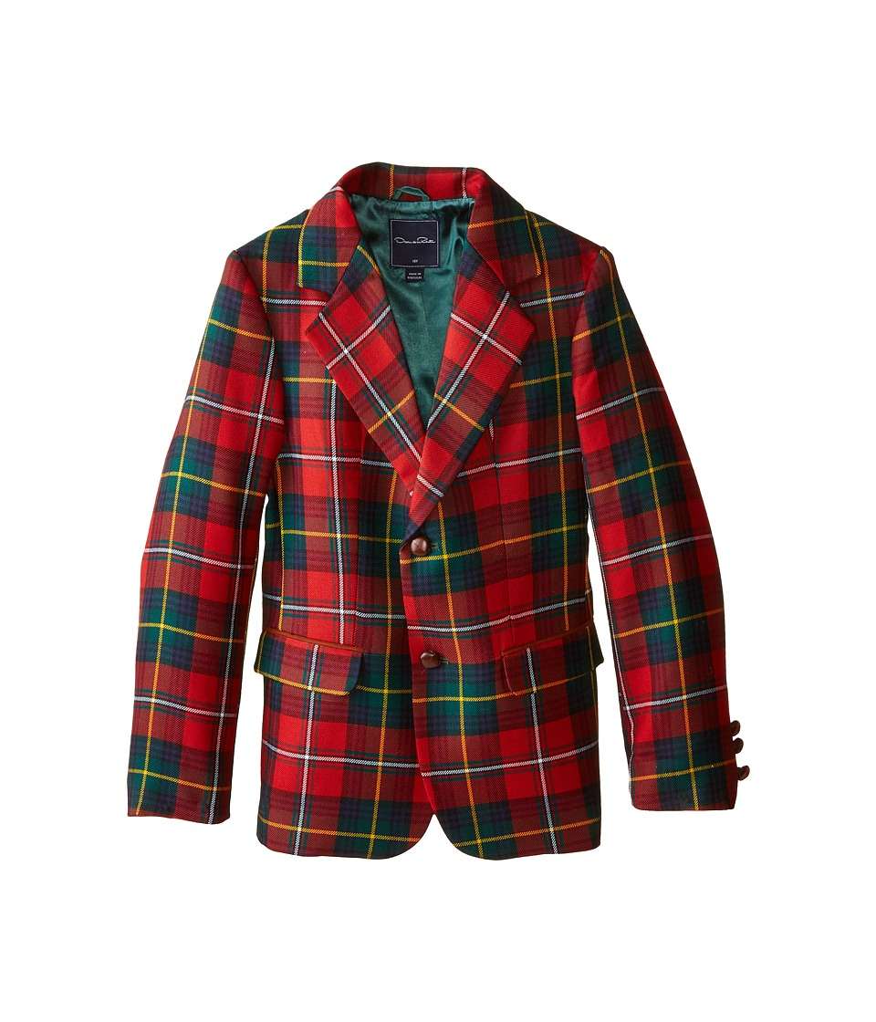 Oscar de la Renta Childrenswear - Elbow Patch Plaid Blazer (Toddler/Little Kids/Big Kids) (Barn Red) Boy's Jacket