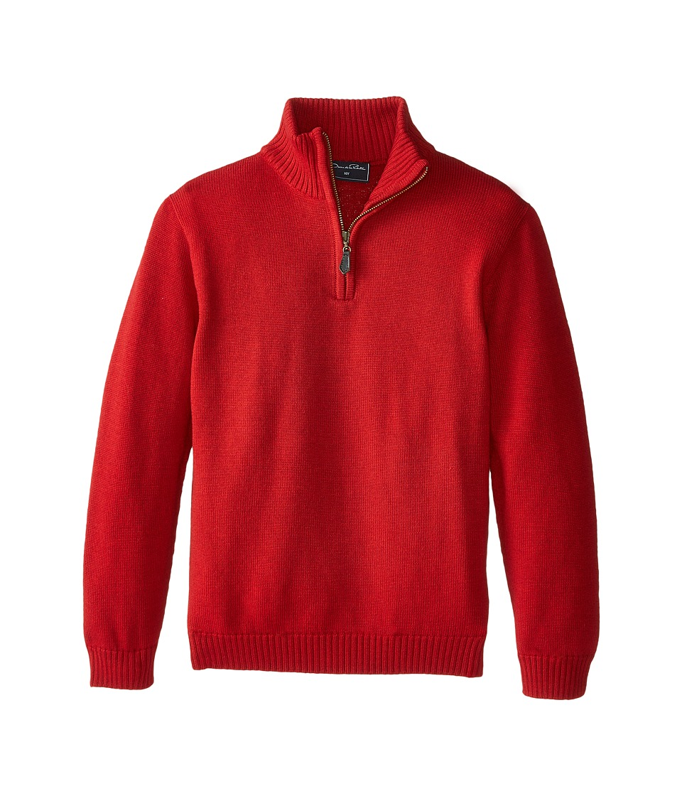 Oscar de la Renta Childrenswear - Merino Half Zip Sweater (Toddler/Little Kids/Big Kids) (Barn Red) Boy's Sweater