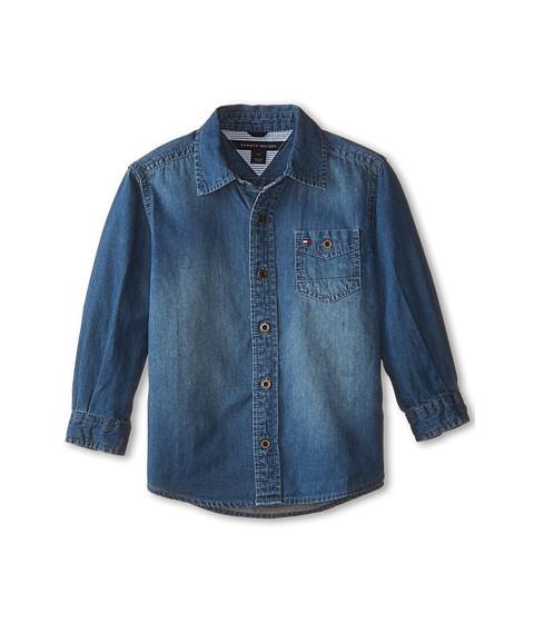 Tommy Hilfiger Kids - Long Sleeve Woven Max Denim Shirt (Toddler/Little Kids) (Medium Blue Wash) Boy