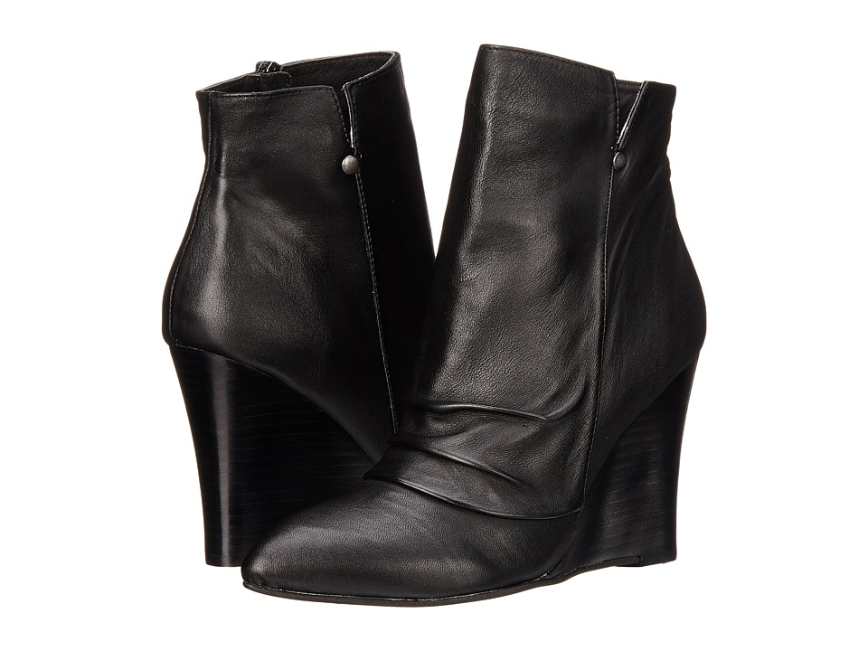 Chinese Laundry Candyce Wedge Bootie (Black Leather) Women