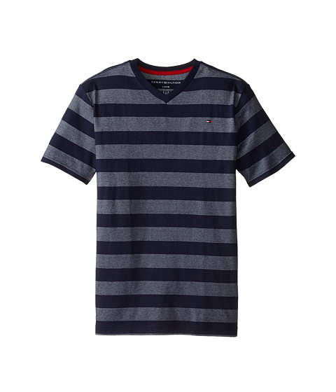 Tommy Hilfiger Kids - Jersey Stripe Short Sleeve V-Neck Tee (Big Kids) (Tommy Hilfiger Swim Navy) Boy
