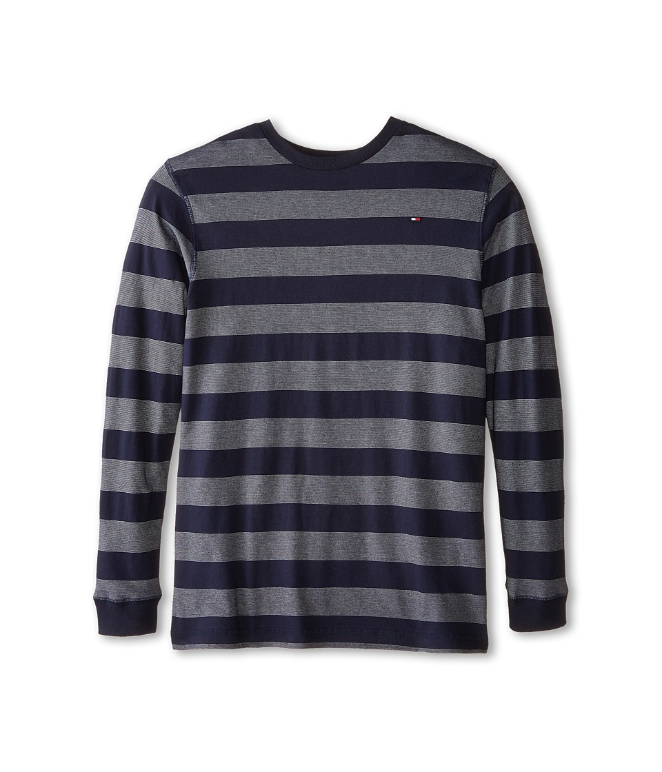 Tommy Hilfiger Kids - Jersey Stripe Long Sleeve Crew Tee (Big Kids) (Tommy Hilfiger Swim Navy) Boy