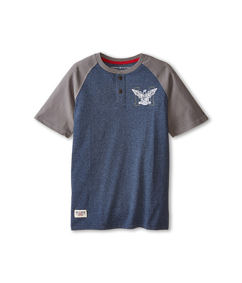 Tommy Hilfiger Kids - Marled Short Sleeve Henley Tee (Big Kids) (Tommy Hilfiger Swim Navy) Boy
