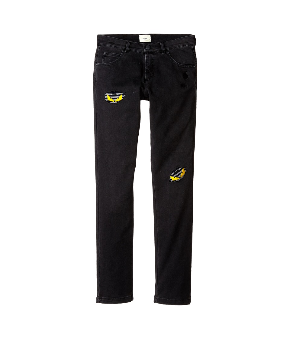 Fendi Kids - Jeans with Eye Stamped (Big Kids) (Black) Boy