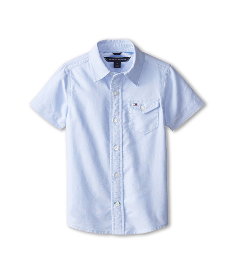 Tommy Hilfiger Kids - Short Sleeve Solid Oxford Shirt (Toddler/Little Kids) (Oxford Blue) Boy
