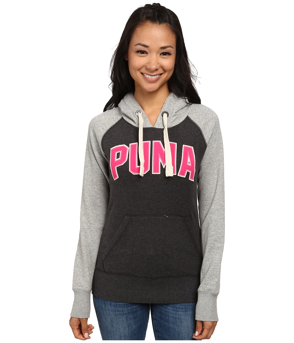 PUMA - Logo Hoodie (Dark Gray Heather Athletic) Women's Sweatshirt