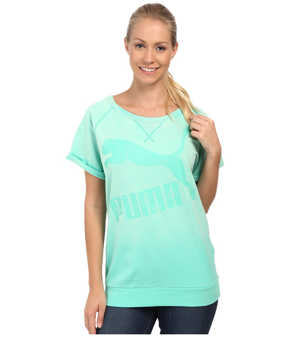 PUMA - Crew Sweat (Electric Green) Women's Short Sleeve Pullover