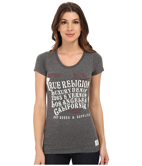 True Religion - Letter Graphic T-Shirt (Gray) Women's T Shirt