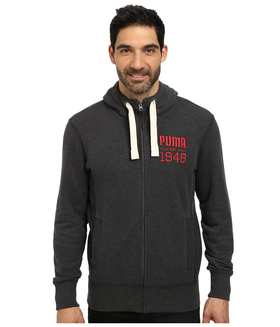 PUMA - Full Zip Hoodie (Dark Grey Heather) Men's Sweatshirt