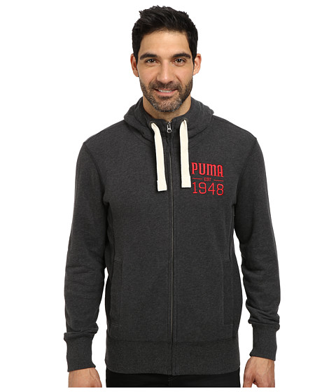 PUMA - Full Zip Hoodie (Dark Grey Heather) Men